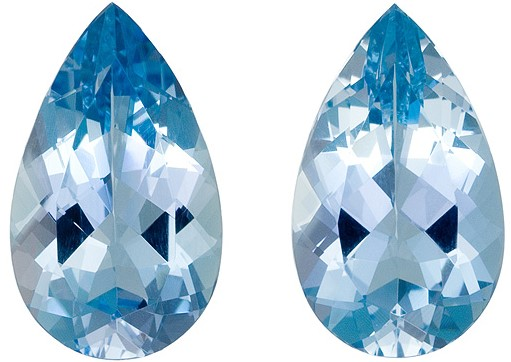Perfect Pair of Aquamarine Gemstones 7.54 carats, Pear Cut, Rich Blue Color in  14.5 x 8.5  mm
