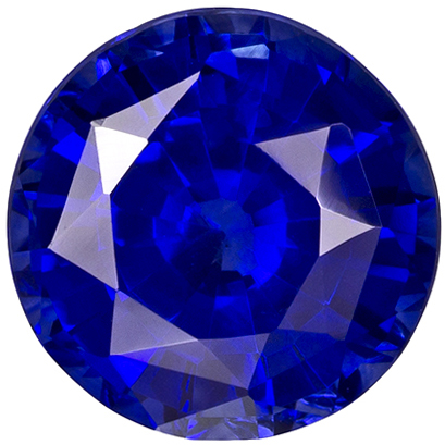 7.6 mm Blue Sapphire Genuine Gemstone in Round Cut, Rich Blue, 2.17 carats