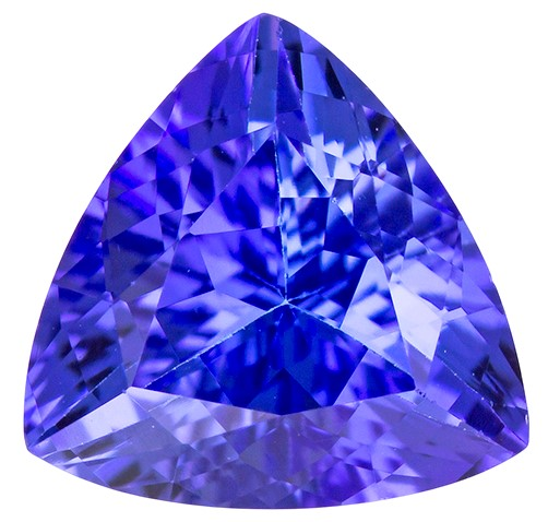 Loose Stunning 1.37 carats Tanzanite Loose Gemstone in Trillion Cut, Intense Blue, 7.6 mm