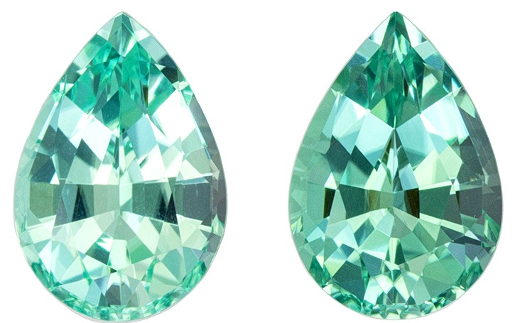 Stunning Pair of Blue Green Tourmalines 1.94 carats, Pear shape gemstones, 7.6 x 5.3  mm