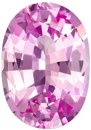 7.6 x 5.4 mm Pink Sapphire Genuine Gemstone in Oval Cut, Vivid Medium Pink, 1.24 carats
