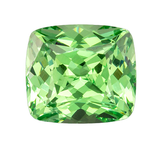 7.6 x 6.8 mm Green Garnet Genuine Gemstone Cushion Cut, Medium Green, 2.32 carats