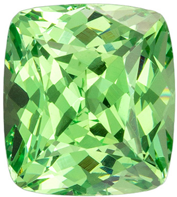 Stunning 7.6 x 6.8 mm Merelani Green Garnet Gemstone in Cushion Cut, Minty Green, 2.32 carats