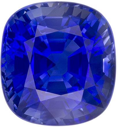 7.6 x 7.1 mm Blue Sapphire Genuine Gemstone in Cushion Cut, Medium Blue, 2.67 carats