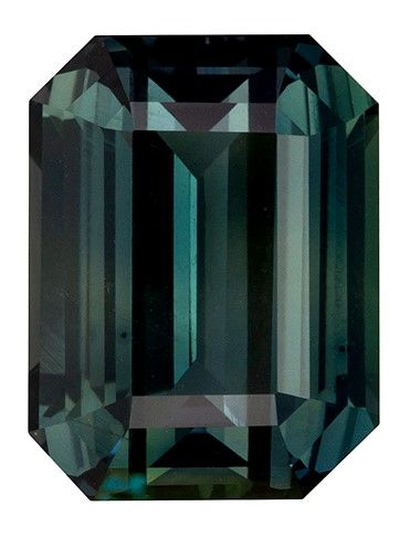 Rare Stone in 12.3 x 9.3 mm Sapphire Loose Gemstone in Emerald Cut, Blue Green, 7.76 carats