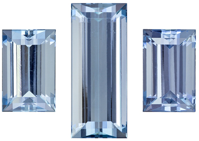 Impressive 3 Piece Set Baguette Shape Aquamarine Matched Pair, 7.78 carats, Medium Aqua Blue, 15 x 6.18 mm