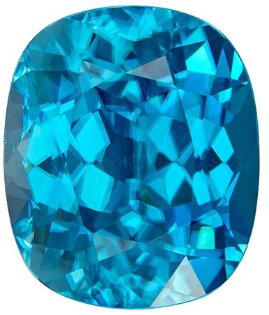 Gorgeous Blue Zircon 7.78 carats, Cushion shape gemstone, 11.6 x 9.7  mm