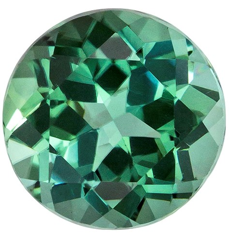 A Beautiful 7.8 mm Tourmaline Loose Genuine Gemstone in Round Cut, Teal Blue, 2.14 carats