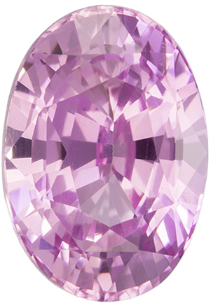 7.8 x 5.5 mm Pink Sapphire Genuine Gemstone in Oval Cut, Light Pure Pink, 1.35 carats