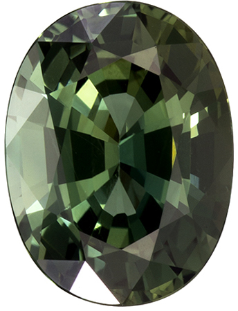 7.8 x 5.9 mm Green Sapphire Genuine Gemstone in Oval Cut, Forest Green, 1.52 carats