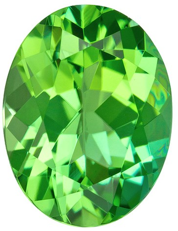 7.8 x 6 mm Green Tourmaline Genuine Gemstone in Oval Cut, Intense Green, 1.23 carats