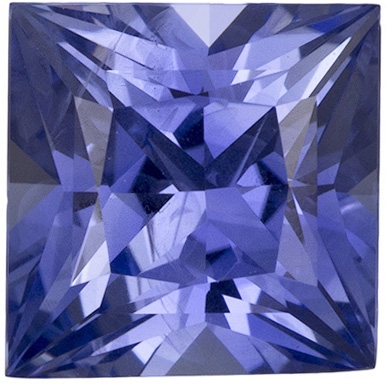 7.8 x 7.7 mm Blue Sapphire Genuine Gemstone in Princess Cut, Vibrant Cornflower Blue, 3.15 carats