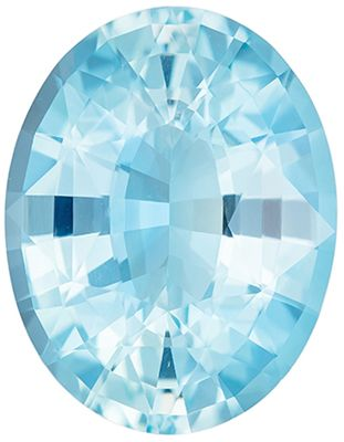 Beautiful Aquamarine Genuine Loose Gemstone in Oval Cut, 7.9 carats, Vivid Sky Blue, 15.8 x 12.3 mm
