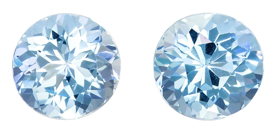 7.9 mm Aquamarine 2 Piece Matched Pair in Round Cut, Pure Blue, 3.33 carats