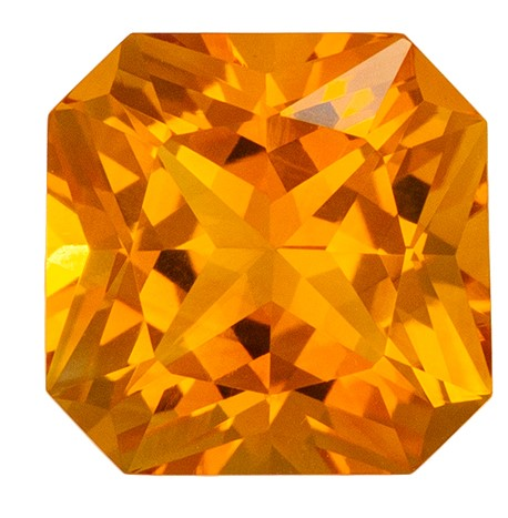 7.9 mm Citrine Genuine Gemstone in Radiant Cut, Golden Yellow, 2.18 carats