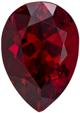 7.9 x 5.6 mm Red Spinel Genuine Gemstone in Pear Cut, Pure Rich Red, 1.3 carats