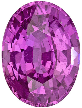 7.9 x 5.9 mm Pink Sapphire Genuine Gemstone in Oval Cut, Vivid Pink, 1.6 carats