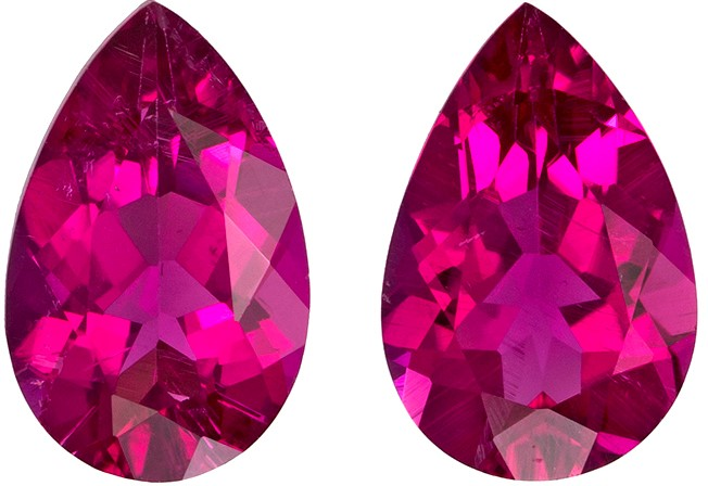 7.9 x 5 mm Rubellite Tourmaline Matched Gemstone in Pair in Pear Cut, Vivid Fuchsia Red, 1.61 carats