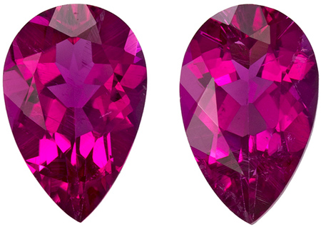 7.9 x 5 mm Rubellite Tourmaline Matched Gemstone Pair in Pear Cut, Vivid Fuchsia Red, 1.61 carats