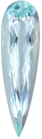 Great Price on 7.94 carat Blue Aquamarine Gemstone in Pear Cut 31.8 x 9 mm