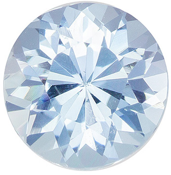 7 mm Aquamarine Genuine Gemstone in Round Cut, Pure Blue, 1.12 carats