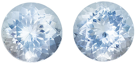 7 mm Aquamarine Matched Gemstone in Pair in Round Cut, Pure Blue, 2.4 carats