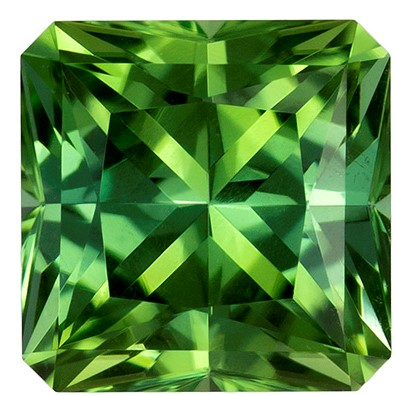 7 mm Green Tourmaline Genuine Gemstone in Radiant Cut, Mint Green, 1.79 carats