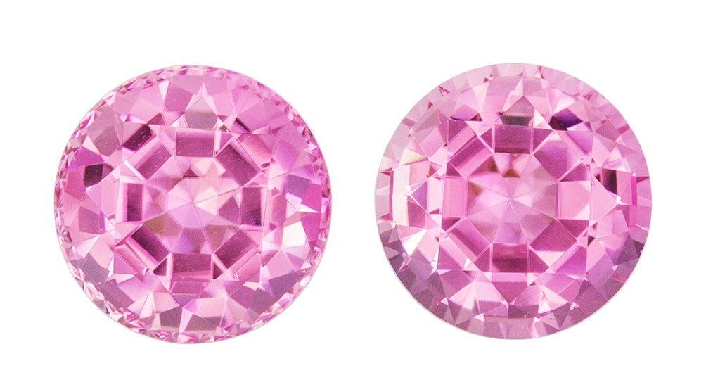 7 mm Pink Tourmaline 2 Piece Matched Pair in Round Cut, Intense Medium Pink, 2.99 carats