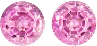 Beautiful Matched Pink Tourmalines 2.99 carats, Round shape gemstones, 7  mm