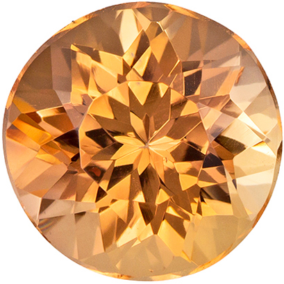 7 mm Precious Topaz Genuine Gemstone in Round Cut, Peachy Golden, 1.67 carats