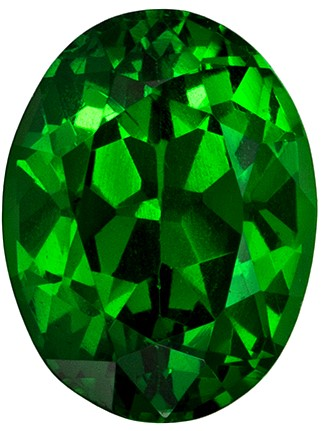 7 x 5.3 mm Tsavorite Genuine Gemstone in Oval Cut, Intense Rich Green, 1.05 carats