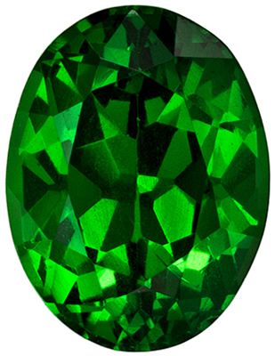 7.0 x 5.3 mm Tsavorite Garnet Loose Gemstone in Oval Cut, Intense Rich Green, 1.05 carats