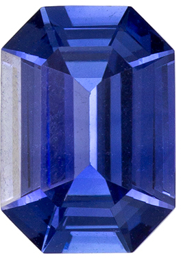 7 x 5 mm, 0.96 carats Emerald Cut Blue Ceylon Sapphire Loose Gem in Rich Blue