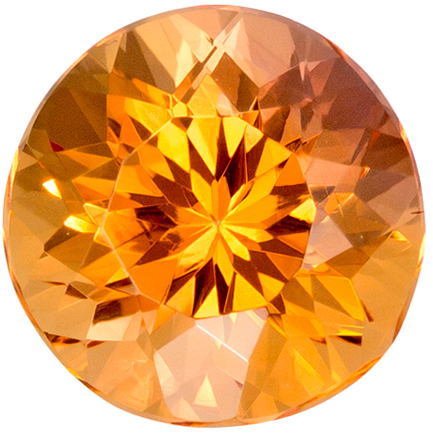 7 x 7 mm Imperial Topaz Genuine Gemstone Round Cut, Peachy Gold, 1.73 carats