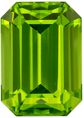 8.06 carats Peridot Loose Gemstone in Emerald Cut, Vivid Lime Green, 13.5 x 9.6 mm