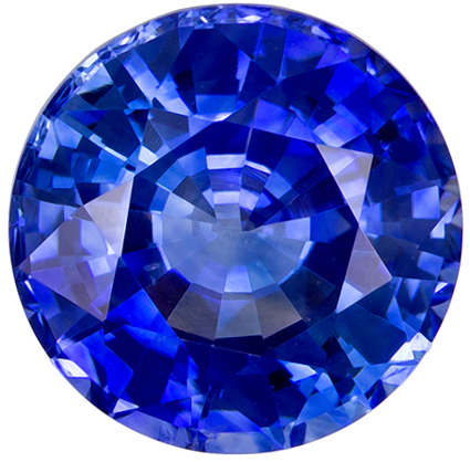 8.1 mm Blue Sapphire Genuine Gemstone in Round Cut, Medium Blue, 2.61 carats