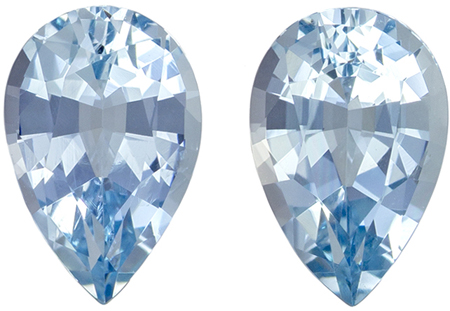 8.1 x 5.4 mm Aquamarine Well Matched Gem Pair in Pear Cut, Medium Blue, 1.76 carats