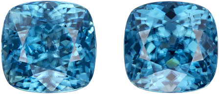 8.1 x 8 mm Blue Zircon 2 Piece Matched Pair in Cushion Cut, Vivid Teal Blue, 8.95 carats