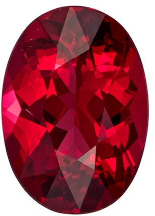 8.2 x 5.8 mm Red Spinel Genuine Gemstone in Oval Cut, Pigeon's Blood Red, 1.2 carats