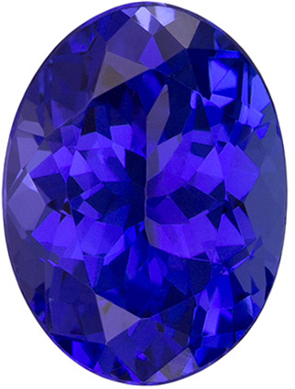 8.2 x 6.1 mm Tanzanite Genuine Gemstone in Oval Cut, Vivid Blue Purple, 1.49 carats