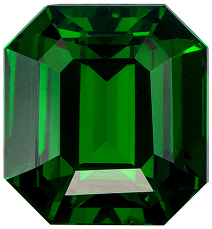 8.2 x 7.6 mm Tsavorite Genuine Gemstone Emerald Cut, Vivid Rich Green, 3.13 carats
