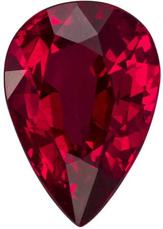 8.3 x 5.8 mm Ruby Genuine Gemstone Pear Cut, Vivid Red, 1.41 carats