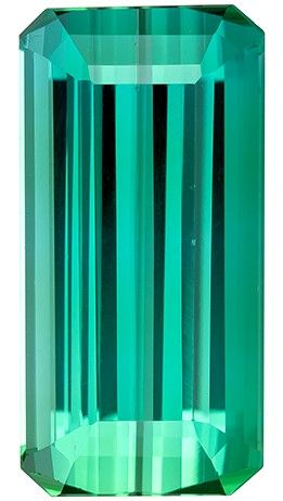 Selected Blue Green Tourmaline Gemstone, 8.36 carats, Emerald Cut, 15.7 x 7.8 mm, A Selected Gem