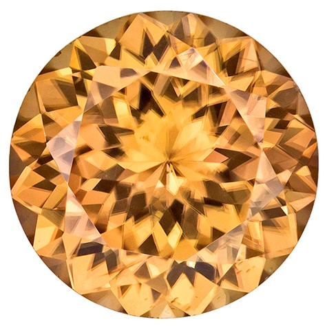 8.4 mm Brown Zircon Genuine Gemstone in Round Cut, Honey Golden Brown, 3.11 carats