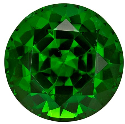 8.4 mm Chrome Tourmaline Genuine Gemstone in Round Cut, Rich Grass Green, 2.62 carats
