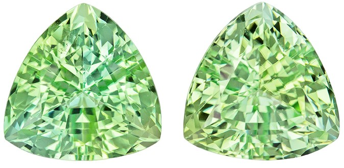 8.4 mm Green Tourmaline Matched Gemstone in Pair in Trillion Cut, Light Mint Green, 4.63 carats