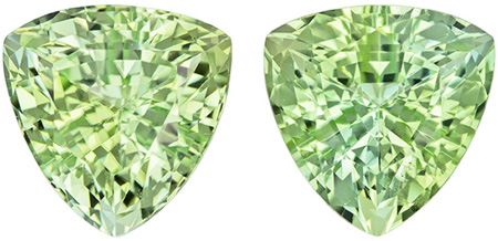8.4 mm Green Tourmaline Matched Gemstone Pair in Trillion Cut, Light Mint Green, 4.63 carats