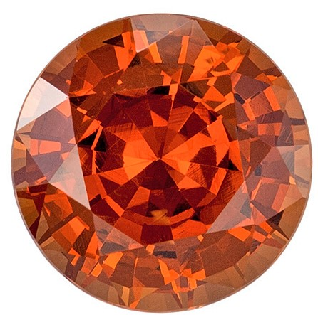 8.4 mm Orange Spessartite Genuine Gemstone in Round Cut, Rich Burnt Orange, 2.98 carats