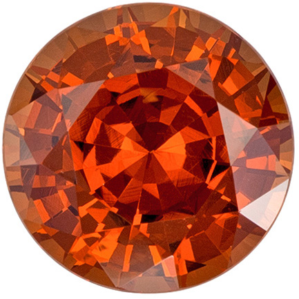 8.4 mm Orange Spessartite Genuine Gemstone Round Cut, Rich Burnt Orange, 2.98 carats