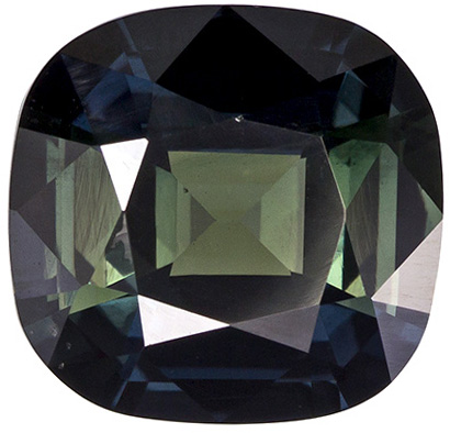 8.4 x 8 mm Green Sapphire Genuine Gemstone in Cushion Cut, Rich Green, 2.53 carats